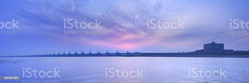Eastern Scheldt storm barrier, at dawn in Zeeland, The Netherlands stock photo