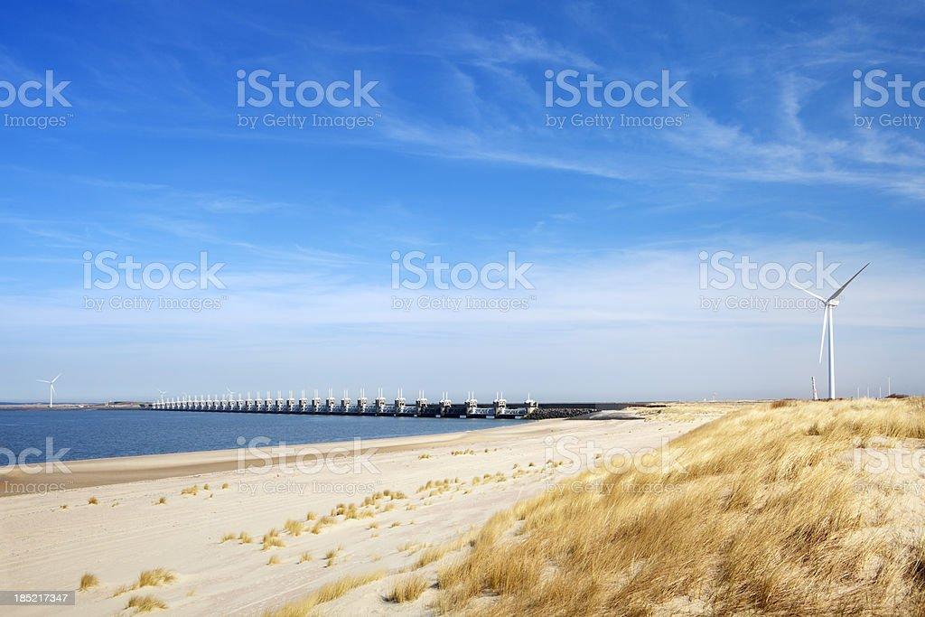 Eastern Scheldt storm barrier, clear day in Zeeland, The Netherlands stock photo