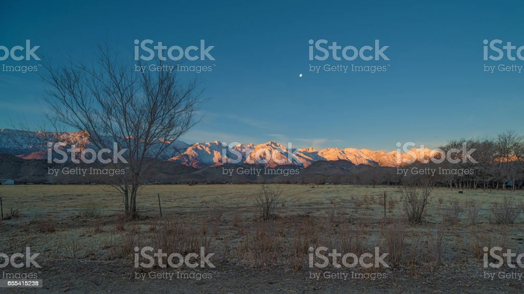Eastern Sierra Nevada moonset. stock photo