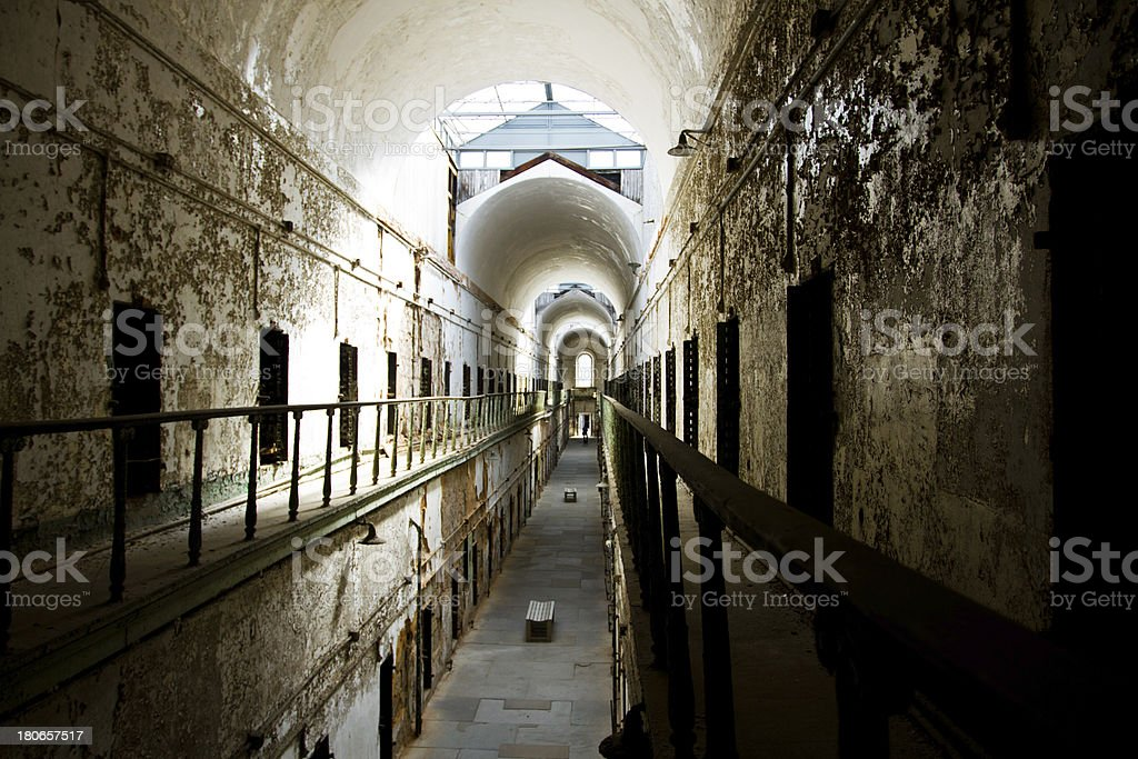 Eastern State Penitentiary Prison, hallways and platform royalty-free stock photo