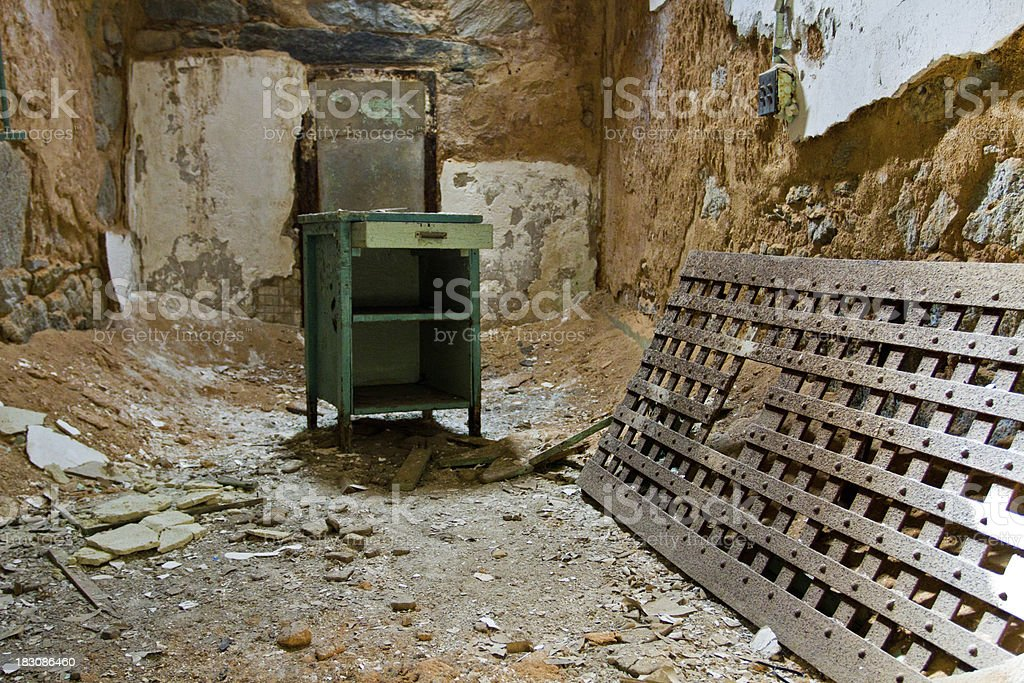 Eastern State Penitentiary Prison, one of the cells stock photo