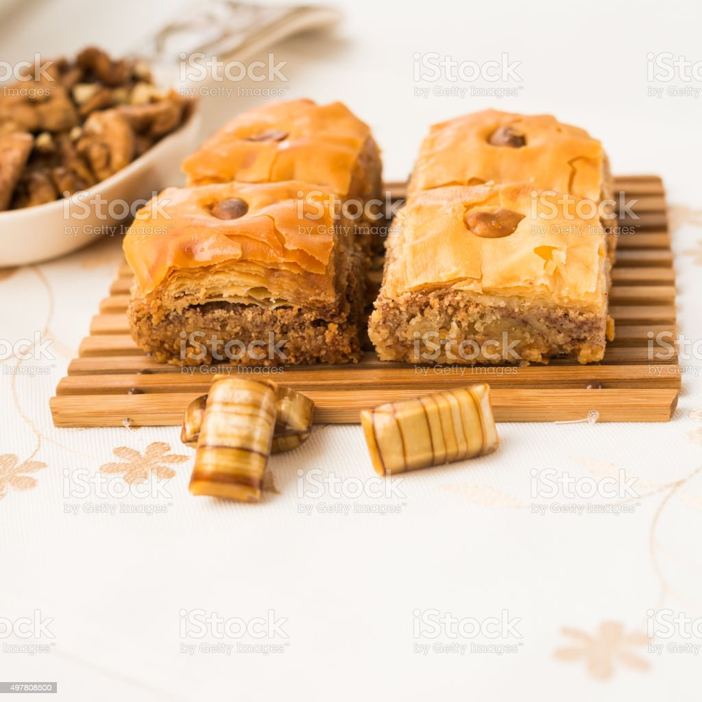 Eastern sweets. Arabic Traditional Celebratory Dessert. Baklava. stock photo