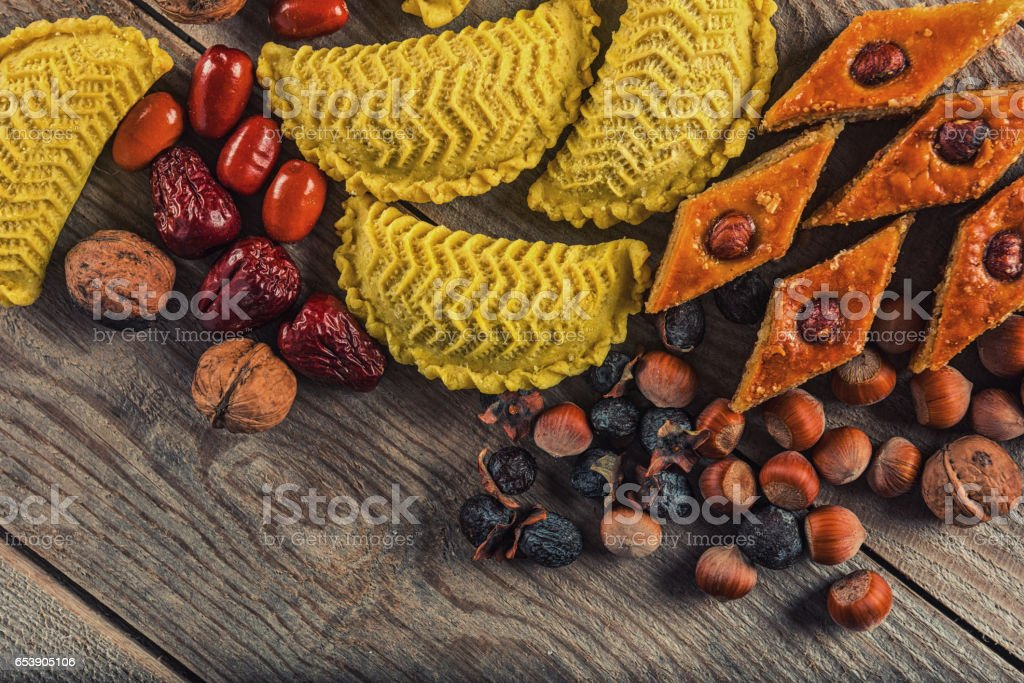 Eastern sweets for Novruz holiday stock photo