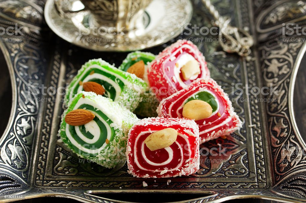 Eastern sweets Turkish delight. stock photo