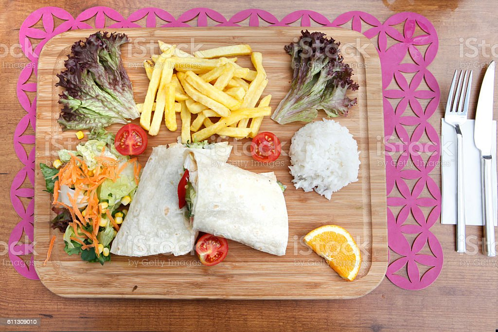 Eastern traditional shawarma Turkish doner durum stock photo