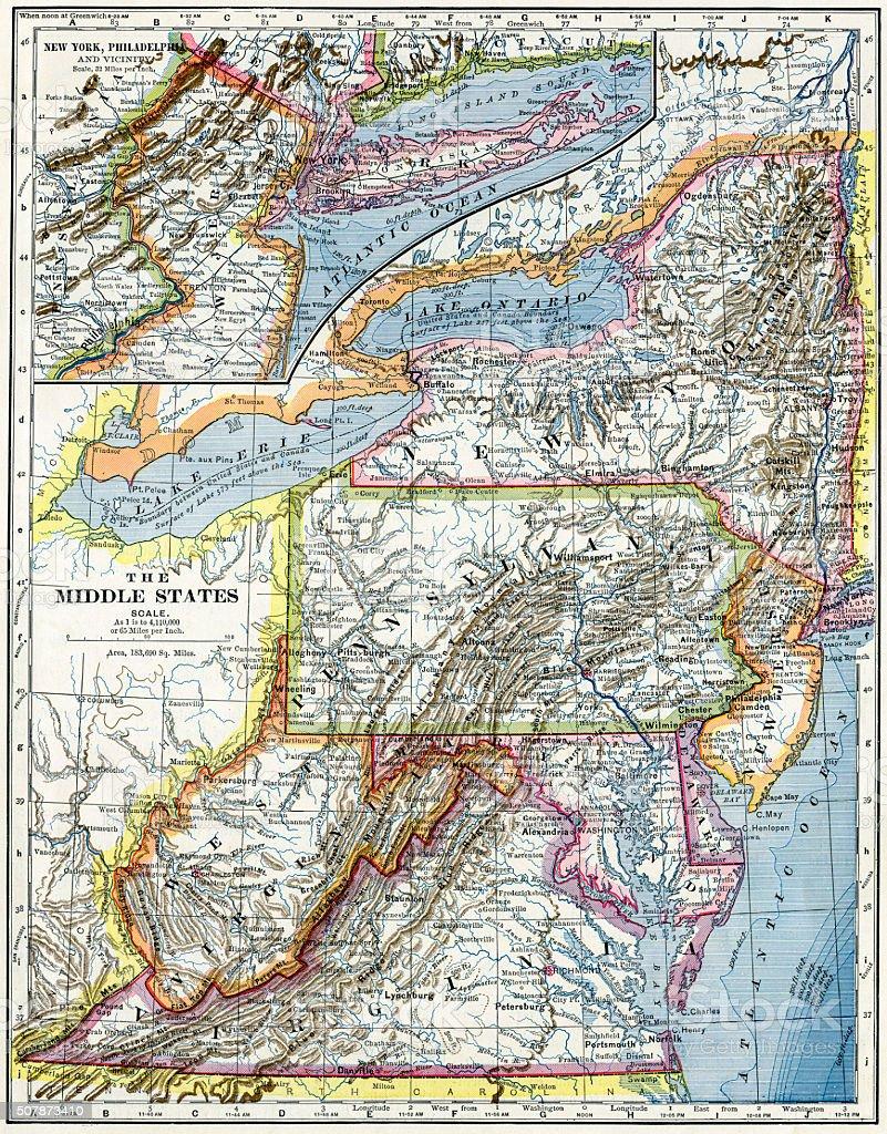 Eastern United States Map 1883 stock photo