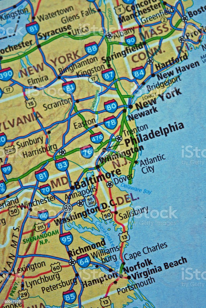 Eastern USA Map stock photo