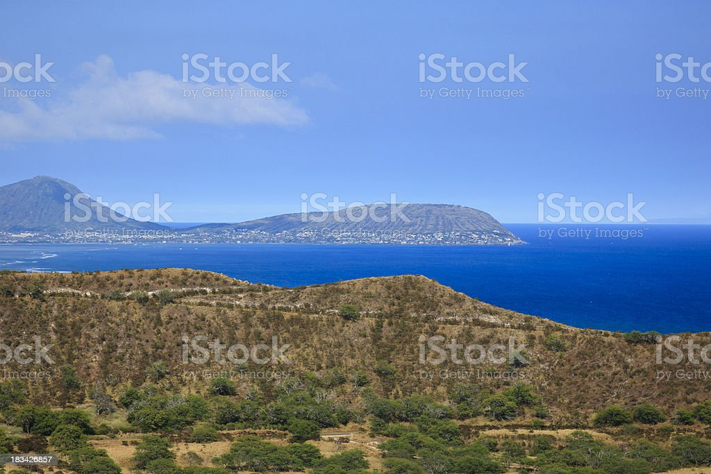Eastern View from Diamond Head Crater Oahu Hawaii stock photo