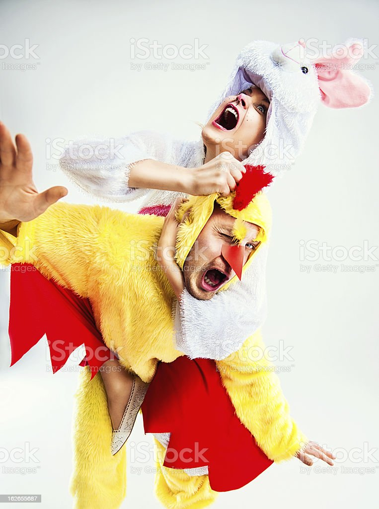 Easterrabbit and chicken fighting stock photo