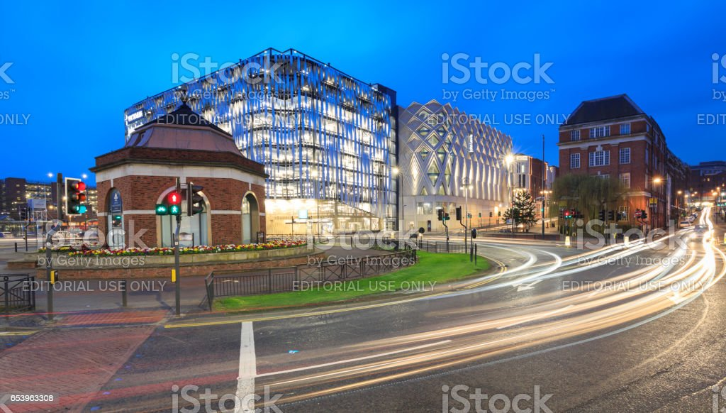 Eastgate and the John Lewis store in Leeds, UK stock photo
