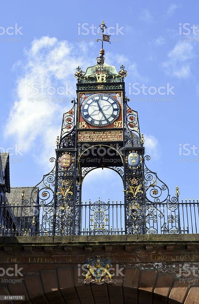 Eastgate clock tower in Chester stock photo