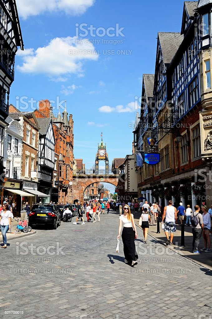 Eastgate shopping street, Chester. stock photo