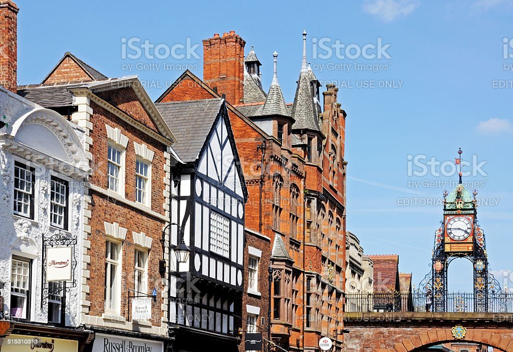 Eastgate Street shops and clock, Chester. stock photo