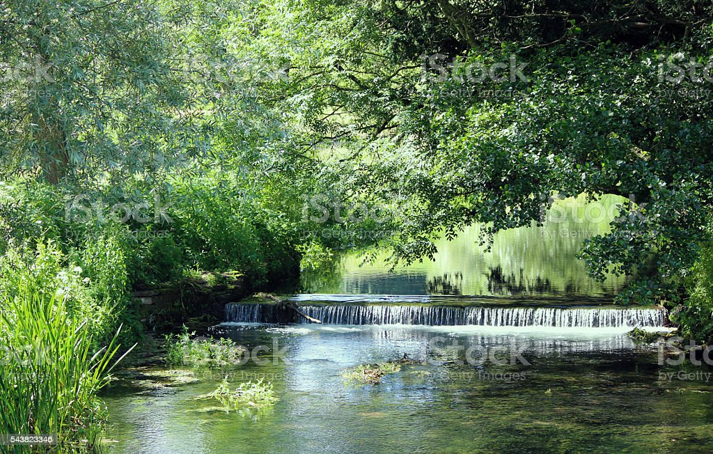 Easton Grey Weir, River Avon, Wiltshire stock photo