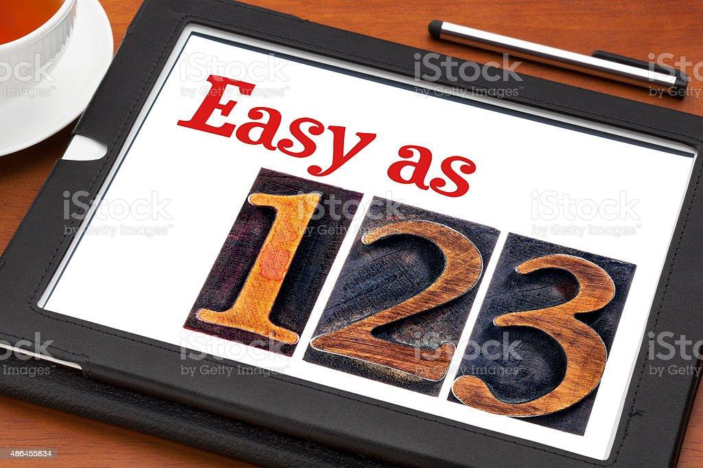 easy as 1, 2, 3 concept stock photo