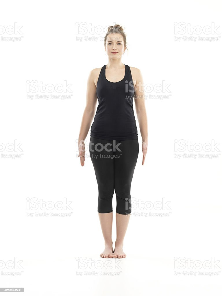 easy begginer yoga pose stock photo