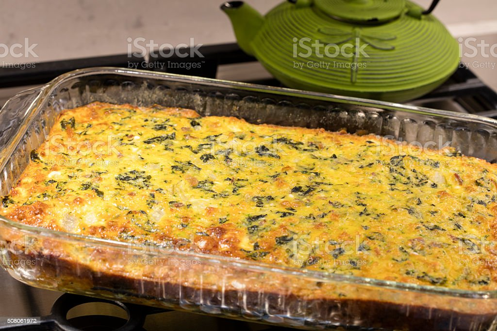 Easy Cheese and Egg Chard Bacon Pie stock photo