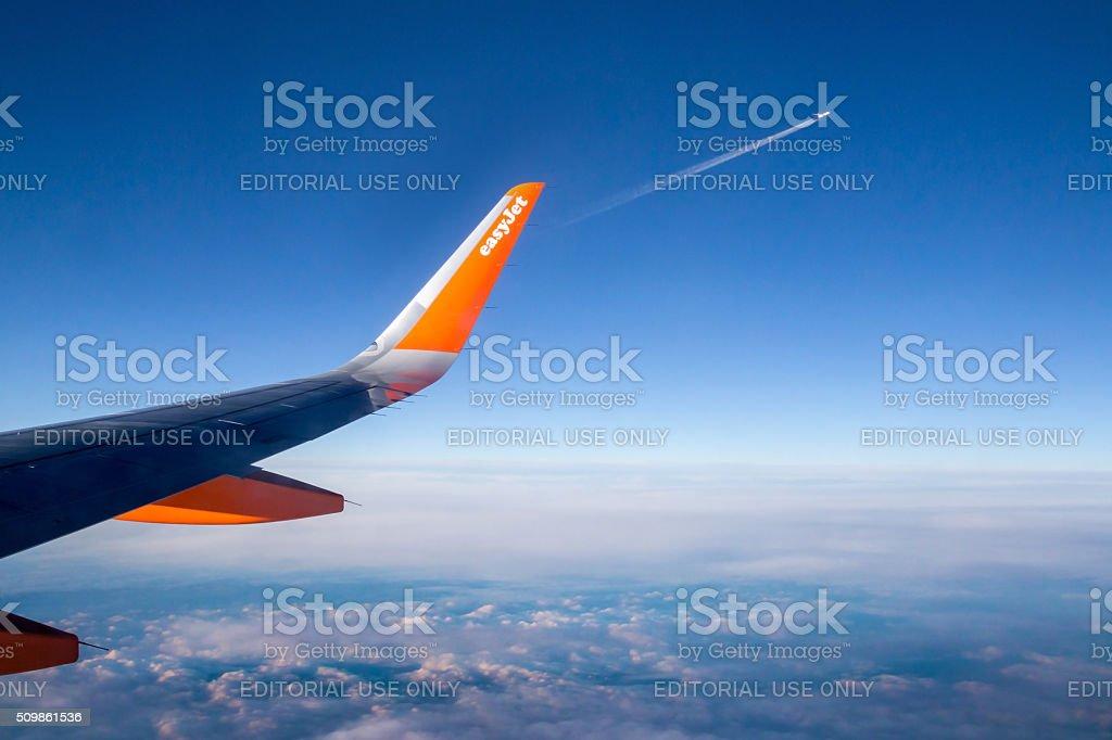 LONDON, UK -  DECEMBER 14. 2014: Easy Jet flying stock photo