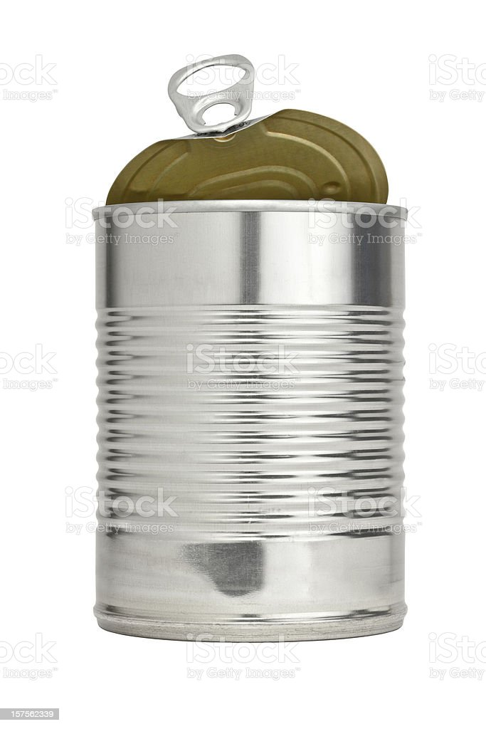 Easy Open Pull Tab Metal Food Can With Top Raised stock photo