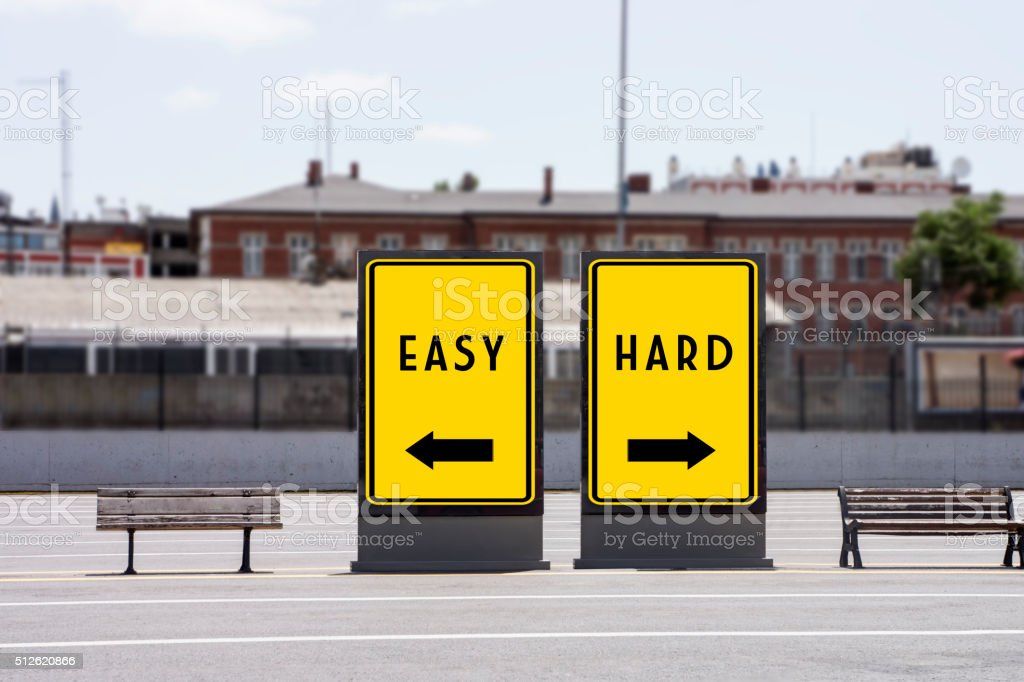 Easy or Hard Concept Concept on Billboards stock photo