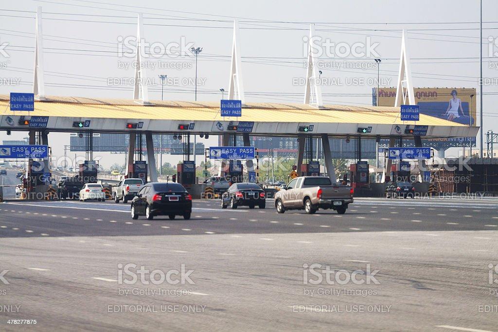 Easy pass station of motorway in Bangkok stock photo
