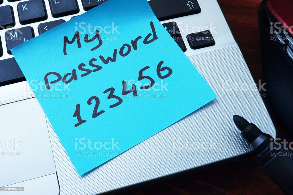 Easy Password concept.  My password 123456 written on a paper. stock photo
