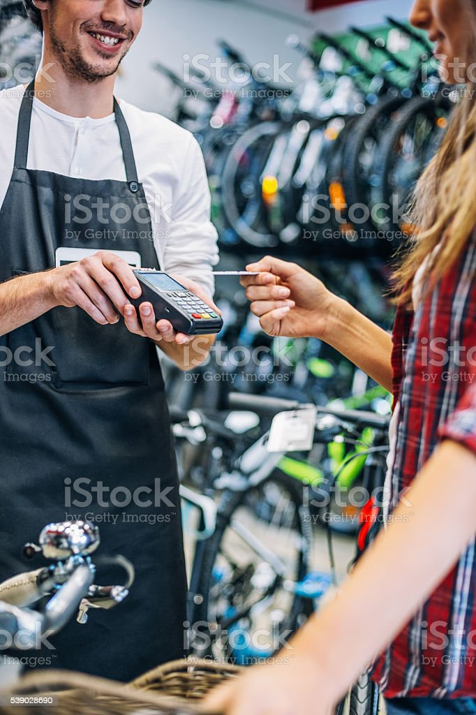 Easy shopping with contactless payment stock photo