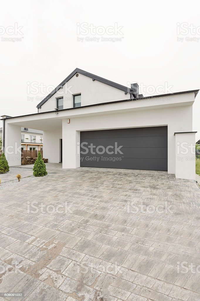Easy to maintain driveway for suburbian house owners stock photo