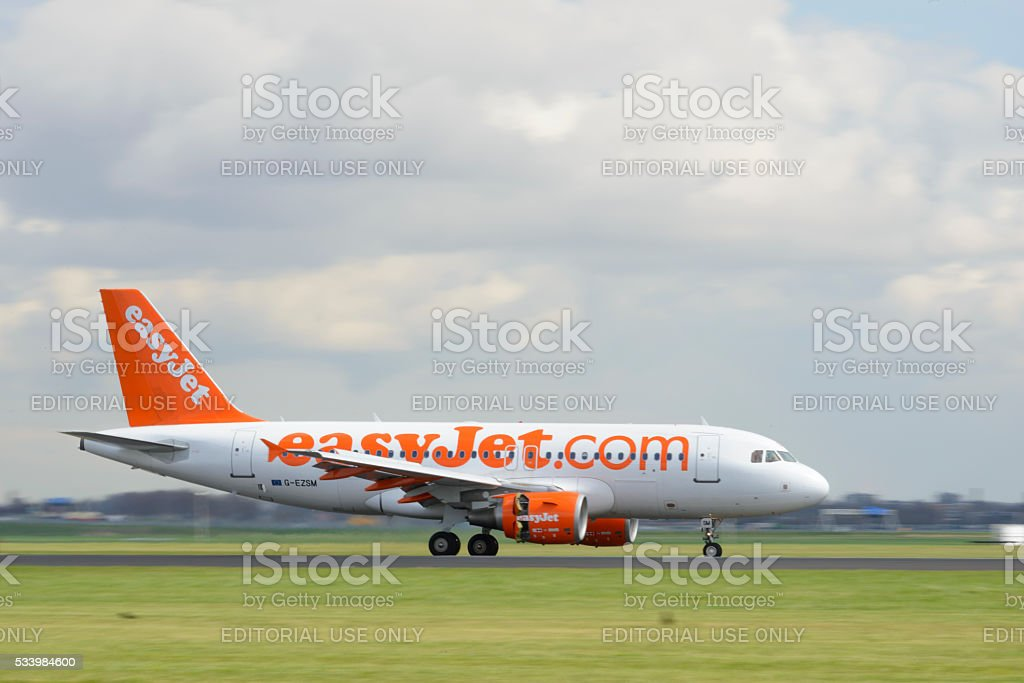 EasyJet Airline Airbus A319 airplane stock photo