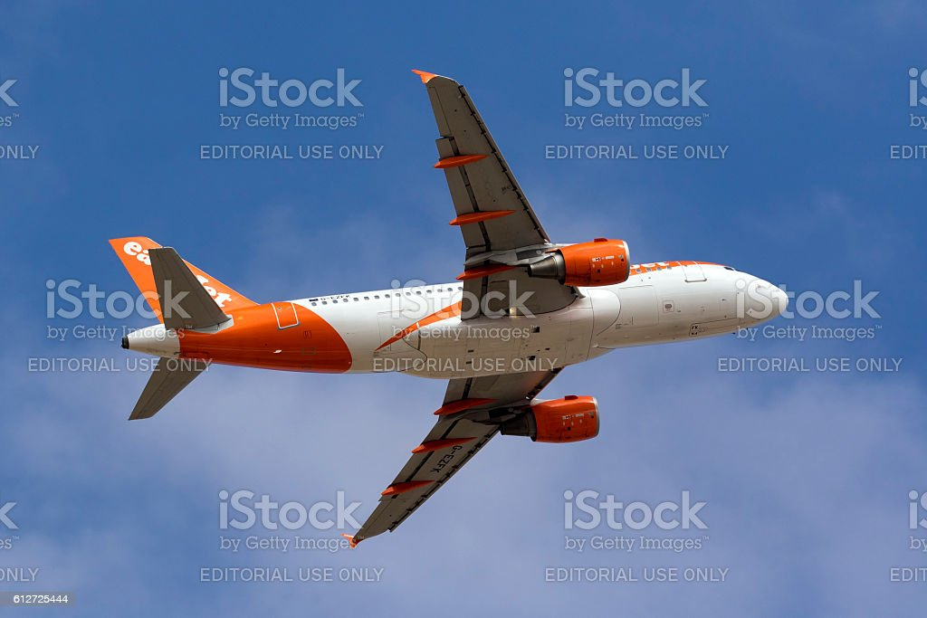 Easyjet Airliner airliner climbing after take off stock photo