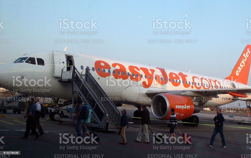 Easyjet Passengers Leaving After Arrival At Schiphol Airport.Amsterdam.Netherlands stock photo