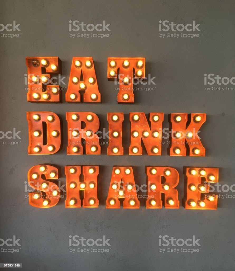Eat and Drink neon sign for cafes and restaurants stock photo