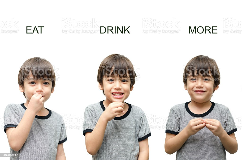 Eat ,drink, more kid hand sign language on white background royalty-free stock photo