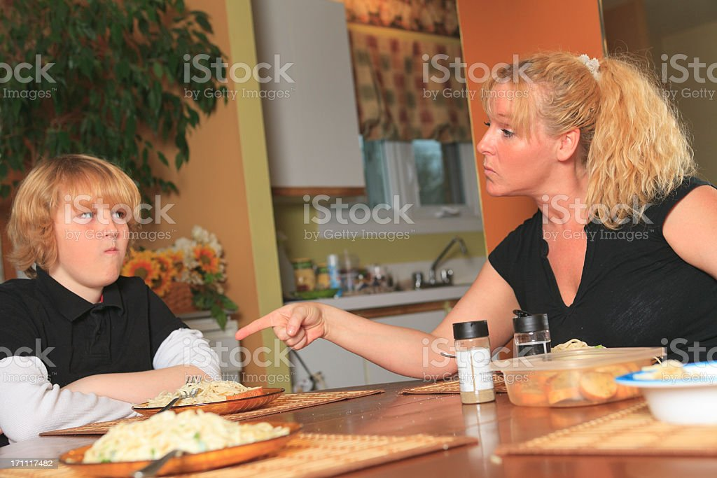 Eat Food mom say stock photo