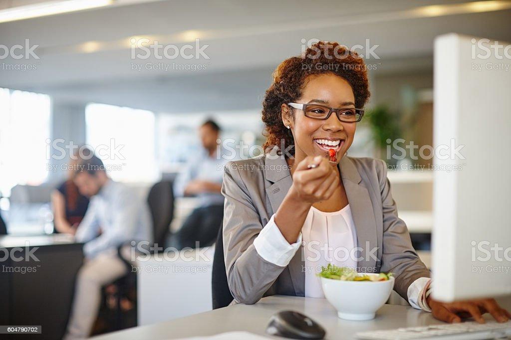 Eat good, work good stock photo