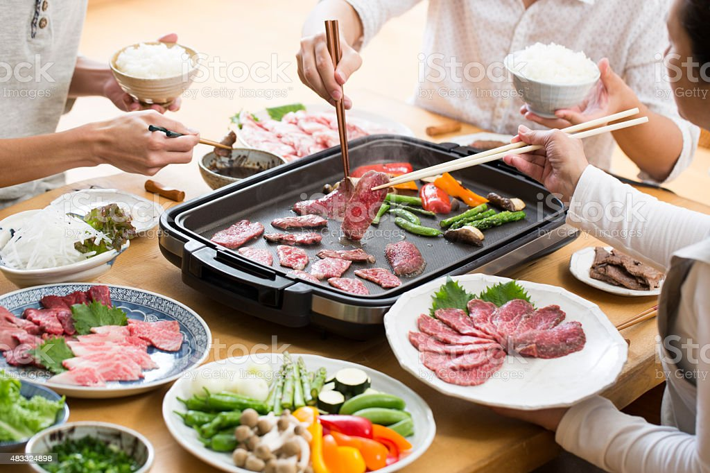 Eat grilled meat stock photo