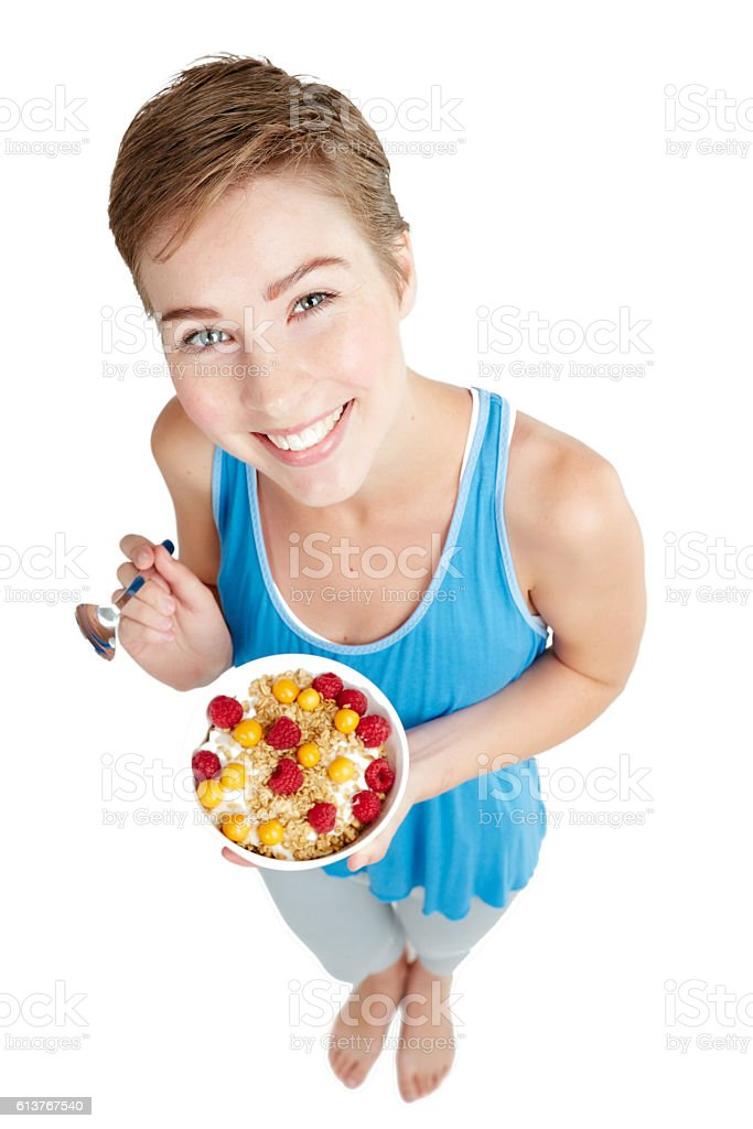 Eat healthy and be happy stock photo