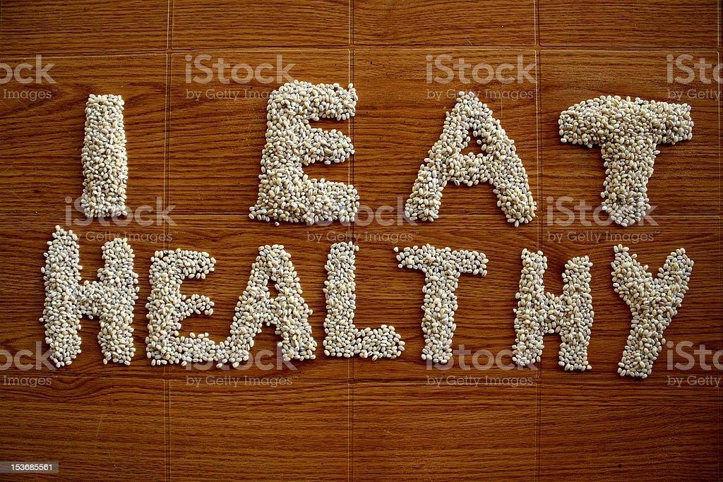 I eat healthy barleycorns stock photo