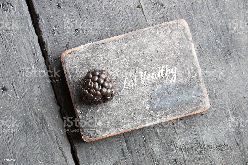 Eat heathy text. stock photo