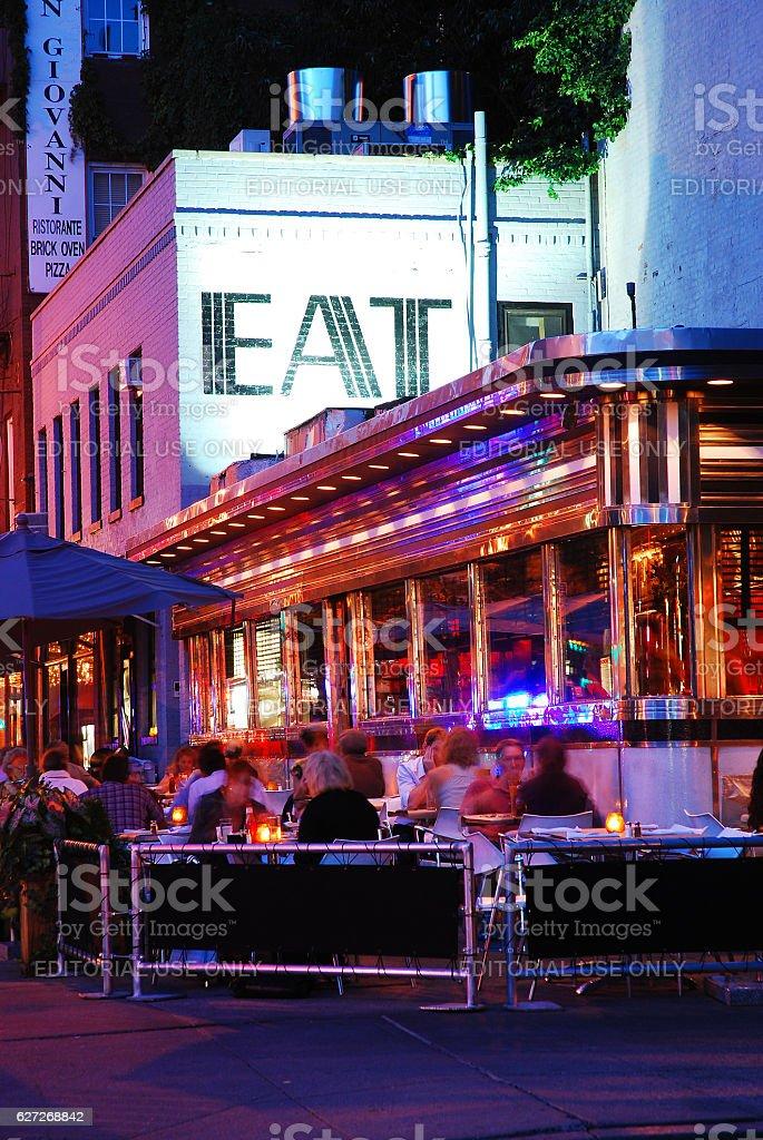 Eat here stock photo