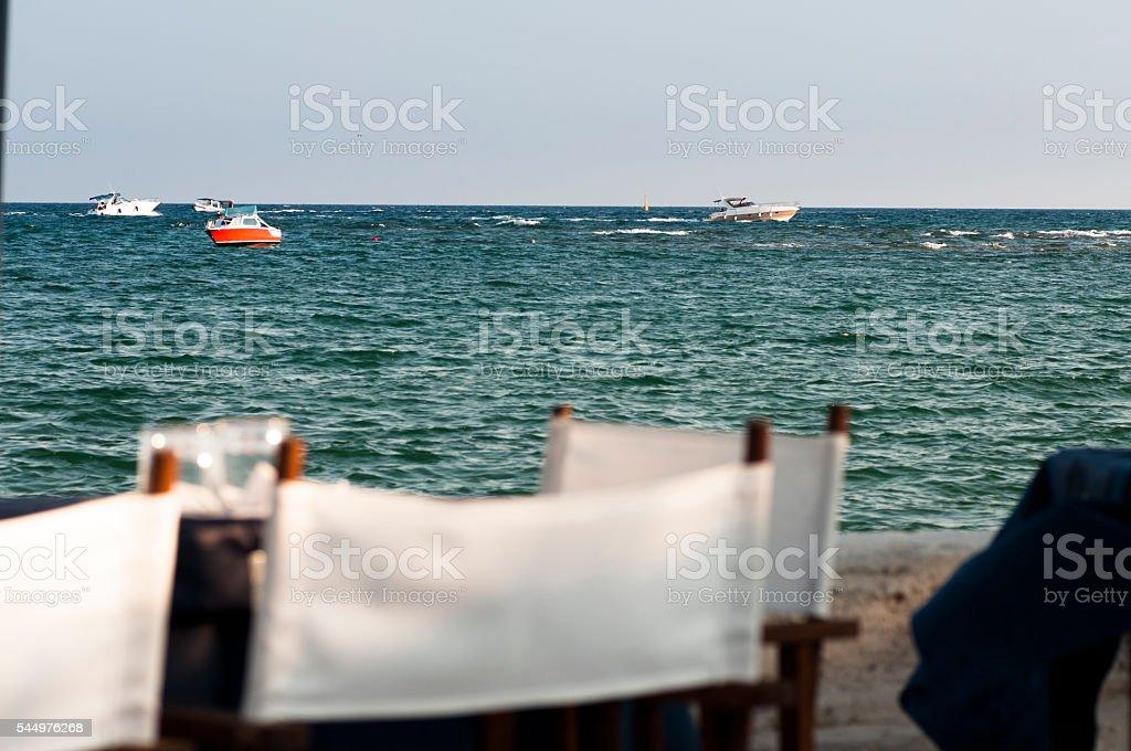 eat overlooking the sea stock photo