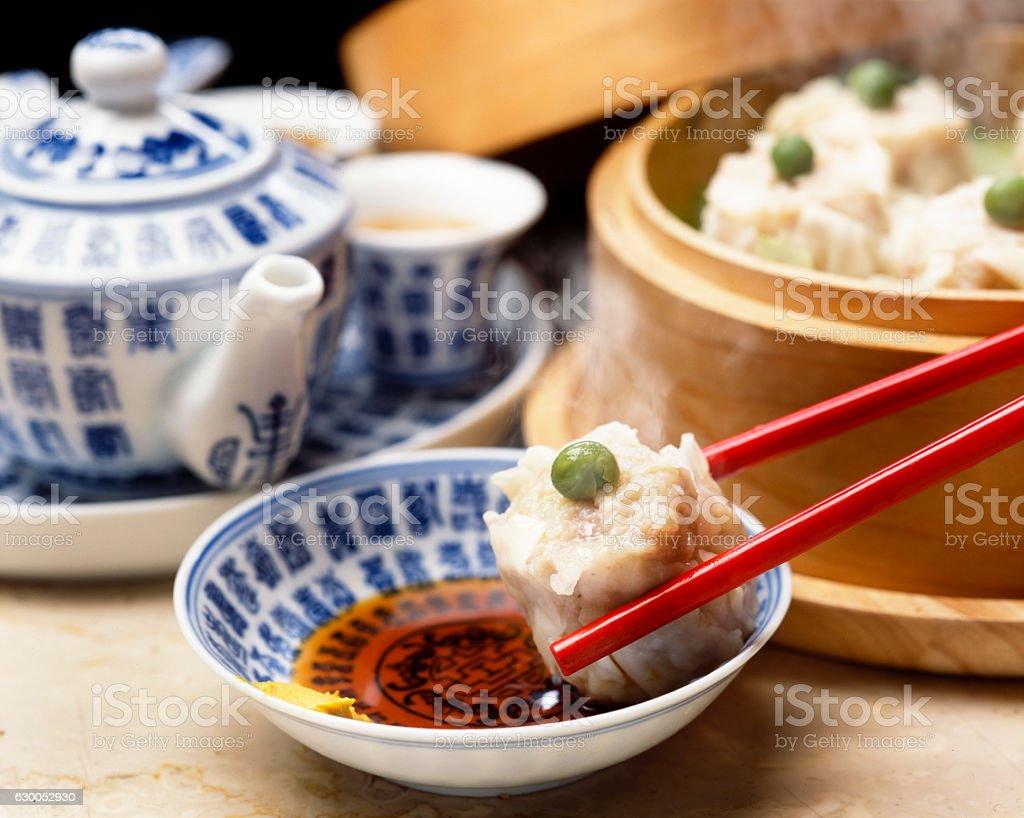 Eat Shumai stock photo