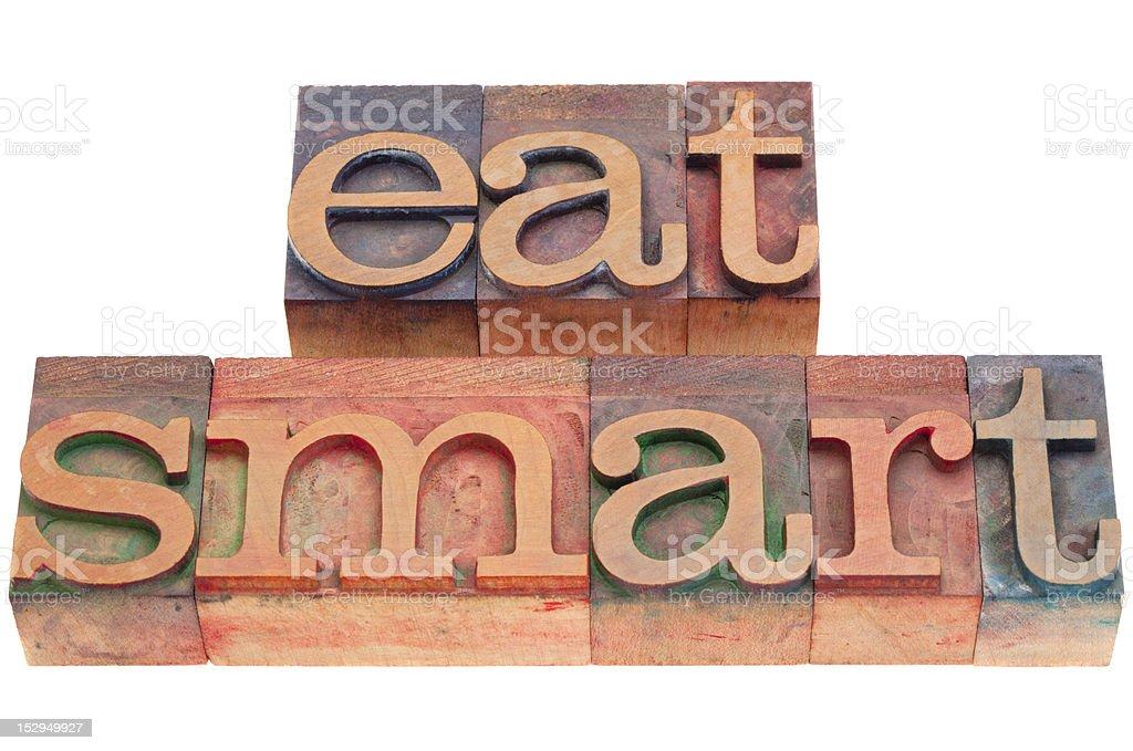 eat smart in letterpress type royalty-free stock photo
