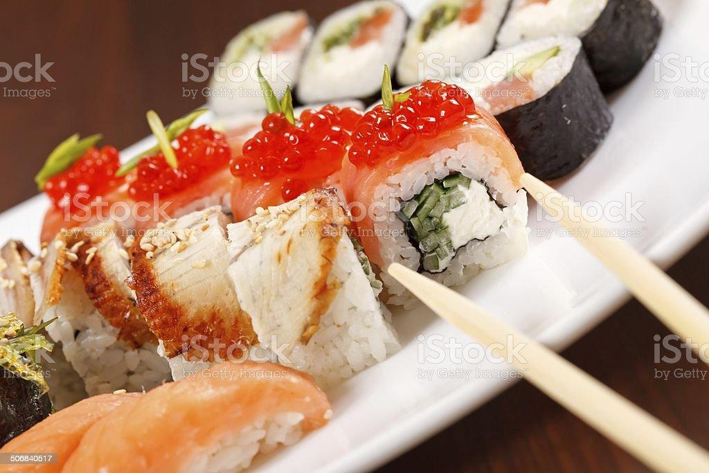 Eat sushi royalty-free stock photo