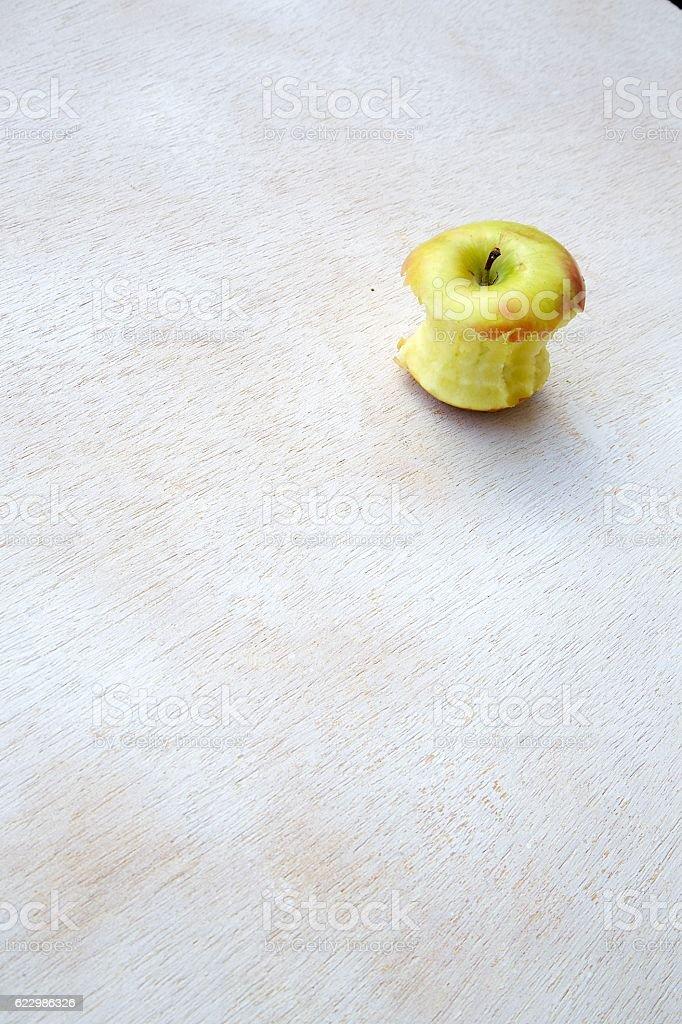 Eaten apple stock photo