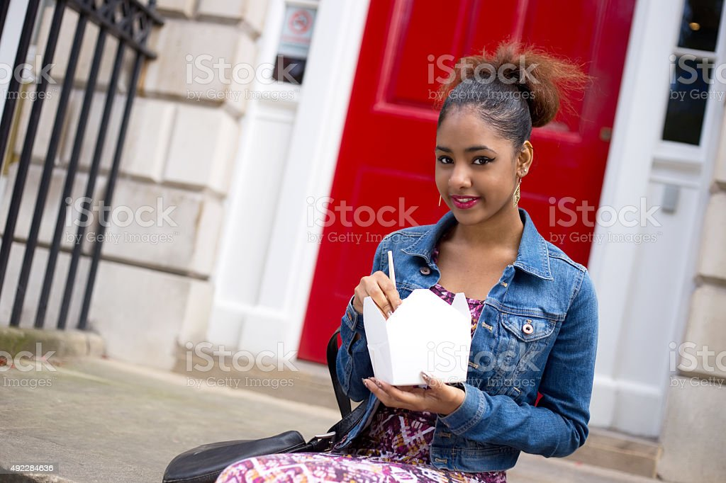 eating a chinese takeaway royalty-free stock photo