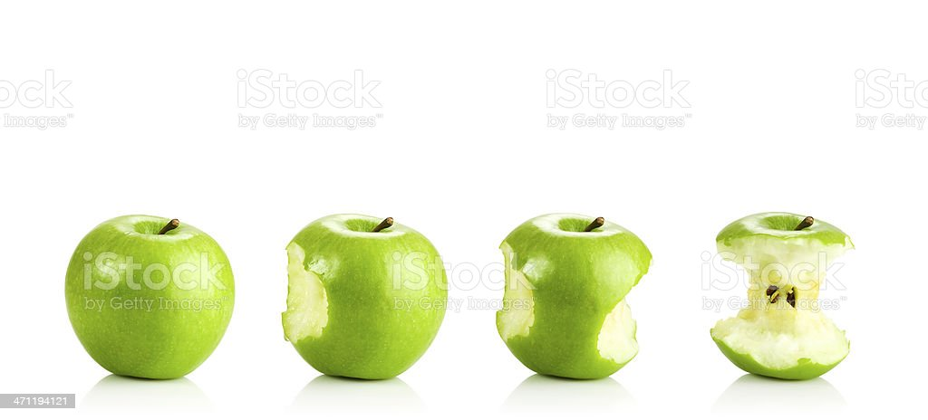 Eating a Green Apple stock photo