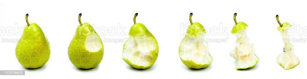 eating a tasty ripe pear stock photo
