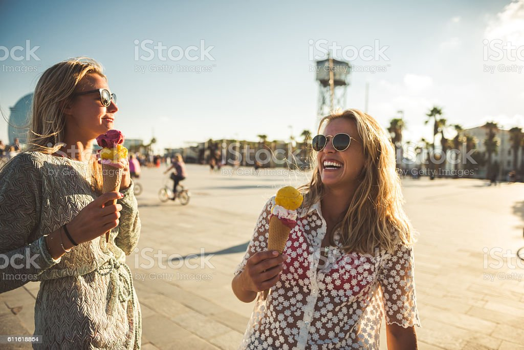 Eating an ice cream stock photo