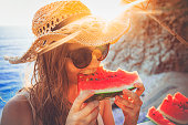Eating and enjoying watermelon
